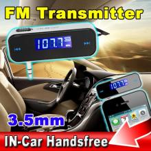 Best Price Wireless FM Transmitter Mini In-car LCD 3.5mm Vehicle Car Kit Modulator Handsfree MP3 Audio Music Player for Any Car