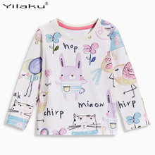 2017 Autumn Long Sleeve Cartoon T-shirt For Girls Clothes Animal Print Baby Girl Cotton Tops Tees Casual Kids Girls T Shirt(China)