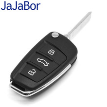JaJaBor Car Case Replacement Folding Flip Remote Key Shell Case 3 Button Case For AUDI A2 A3 A4 A6 A6L A8 TT with Blade