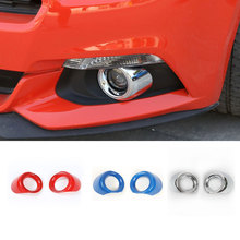 Car-Styling 2PCS ABS Front Fog Light Cover Decoration Lamp Protector for Ford Mustang 2015 2016 Red Blue Silver Free Shipping(China)