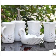 Fashion jingdezhen bone china five pieces ceramic bathroom set wash set tumbler toothbrush holder