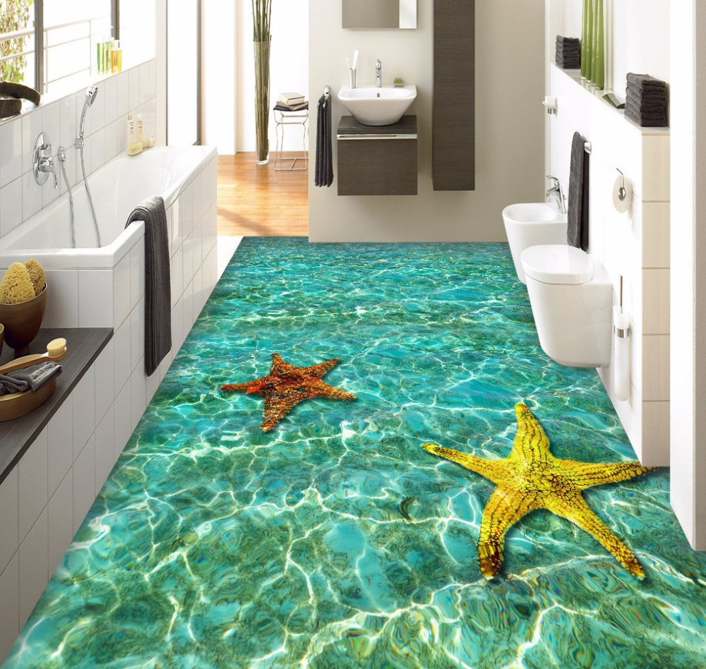 Free Shipping Ripple Starfish Bathroom Living Room 3D Floor Tile wear non-slip waterproof flooring bedroom wallpaper mural<br>