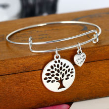 12PCS/Lot Wholesale Hollow Tree of Life Wire Adjustable Expandable Pendant Bangle Bracelet Charm Bracelet for Women Girl Jewelry
