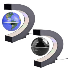 C Shape LED World Map Floating Globe Tellurion Magnetic Levitation Light World Map Home Decoration Kids Birthday Gift US/AU Plug(China)