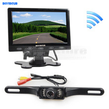 DIYSECUR 7 inch Touch Button Ultra-thin Car Monitor + IR Rear View Camera Wireless Parking Assistance System Kit