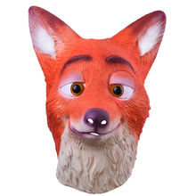 Full Head Adult Mask Fox Head Mask Funny Nick Fox Latex Breathable Realistic Crazy Rubber Party Cosplay Halloween Mask(China)
