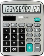 1 Piece Deli 1837 Desktop Calculator / metal panel computer / 12 pairs Power stationery Calculator(China)