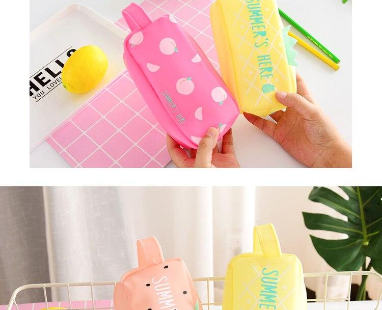 Large Bag Pencil Case For Student Girl  Cute School Stationery Supplies Gift Big Kawaii Silicone Cartoon Fruit Pen Box Zipper 1 (4)1