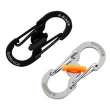2016 New 8 Shape Plastic Steel Carabiner Key Chain Hook Clip Outdoor Camping Hiking Snap