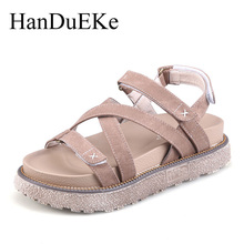 HanDuEKe New 2017 Summer Fashion Gladiator Sandals Women Cross Tied Girls Wedges Platform Sandals Casual Beach Shoes Woman