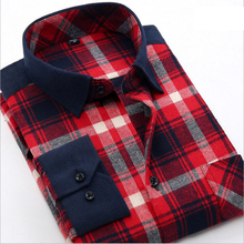 2017 autumn men's warm shirts long sleeved Brushed Flannel thick Shirt wholesale casual men plaid shirt spring camisa mascula