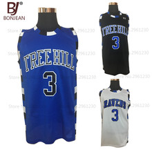 BONJEAN Cheap 3# Lucas Scott One Tree Hill Ravens Basketball Jersey Mens Stitched Movie Jersey Three color S-3XL(China)