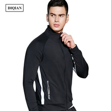 DIQIAN Bodybuilding Long Sleeve Running Jacket Men Fitness Solid Color Male Sport Jacket Gym Training Jackets Men Sportwear 3XL(China)