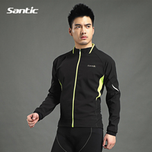 Santic Man MTB Bike Bicycle Winter Fleece Warm Jackets Cycling Windproof Anti-sweat Long Jacket Coat Outdoor Quick Dry Clothing