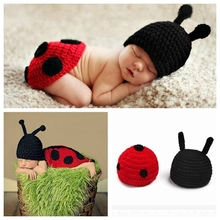 Cute Ladybug Newborn Baby Girl Crochet Knit Costume Photo Photography Prop 2014 Cartoon Knitted Handmade Infant Outfit Hat set