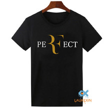 Perfect Roger Federer Logo T-Shirt Gildan Printed Short Sleeve Cotton Tees Shirrt For Men Women Fashion RF T Shirt Euro Size