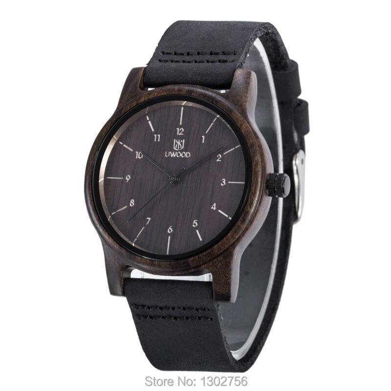 UWOOD 100% Genuine Leather Analog Black Sandal Wood Watch MIYOTA Quartz Movement Wooden Watch For Men Women Lover Gift<br>