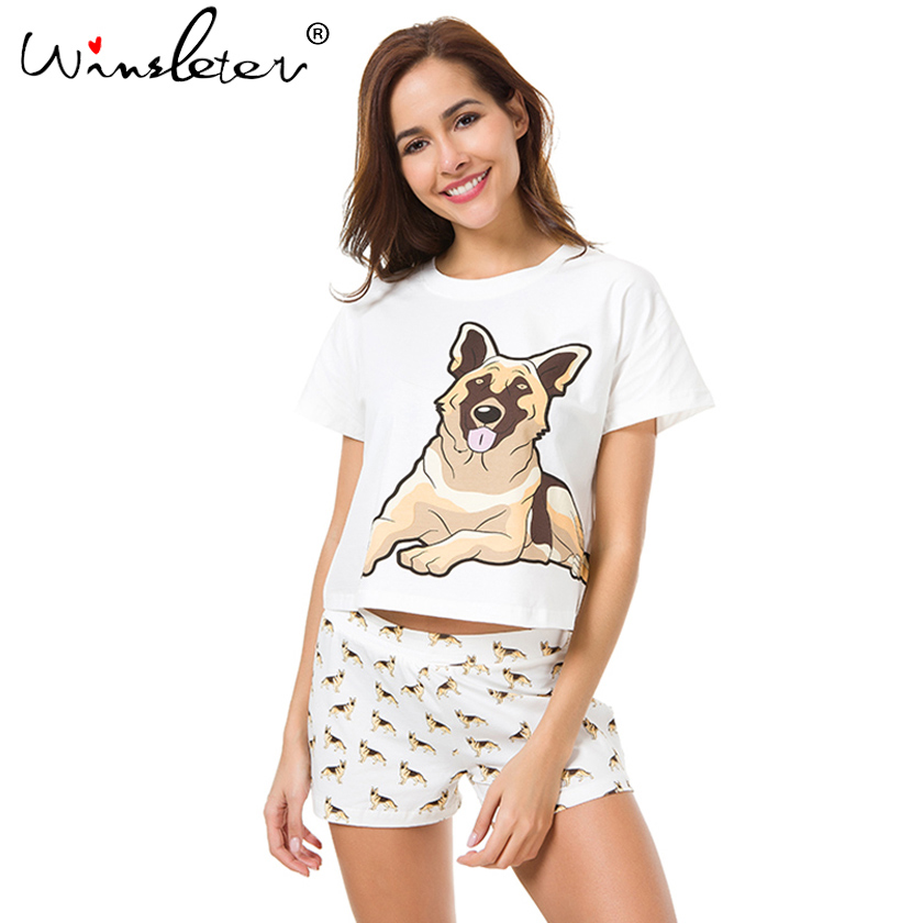 New-Women-Pajama-Sets-German-Shepherd-Dog-Print-2-Pieces-Set-Crop-Top-Shorts-Elastic-Waist
