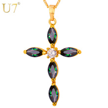 U7 Brand Luxury CZ Cross Necklace & Pendant Women Gold Color Cubic Zirconia Charms Christian Jewelry Christmas Gifts P772(China)