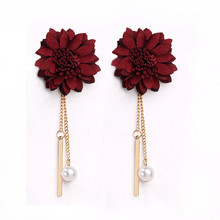 Simple Black Flower Simulated Pearl Tassel Long Earrings For Women Fashion Jewelry Wine Red 3 Colors Wholesale