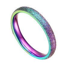 Fashion Simple Ring Female Fashion Stainless Steel Ring Colour Scrub Rainbow Color Sandblasting(China)