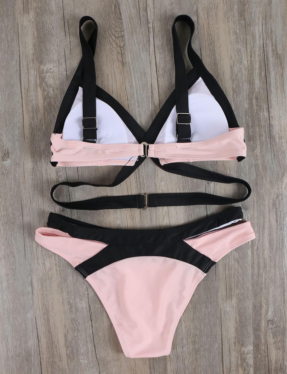 Summer Pink Plus Size Bikini Set Swimwear Women Push Up Bikinis 18 Bathing Suit Sexy Cut Out Beach Wear Cross Swimsuit Biquin 5