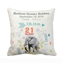 Custom Boy Nursery Baby Birth Stat Elephant Arrow Pattern Throw Pillow Cover Polyester Cotton Cushion Cover Home Decorative Gift