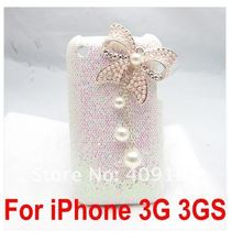 Top Gift Bling Fashion Designer Faux Pearl little Bow Butterfly White Hard Back Cover Case for Apple iPhone 3G 3GS