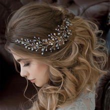 Fashion Crystal Headband tiara Bride Hair Accessories Handmade Gold Silver Simulated Pearl Bride Wedding Headpieces Hair Jewelry(China)