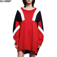 Women Red Sweater Dress Plus Size L-5XL Loose  Patchwork Cotton Long Sleeve  O-neck High Quality Casual knitted Dresses