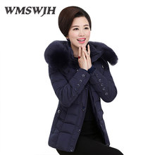 Wmswjh Middle - aged Women Cotton Clothes Hooded Large Fur Collar Short Coat Big Size Slim Eiderdown Cotton Casual Women Jacket(China)
