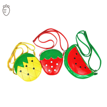 cute children crossbody bags leather girls red yellow mini small fruit phone bags strawbreey pineapple kindergarden baby