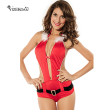 YIZEKOAR New Year Clothes 2017 Hot Sale Sexy Christmas Costumes Festive Cosplay Santa Playful Santa Lingerie Costume For Women