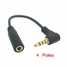 90 degree right angled 3.5mm 4 poles Audio Stereo Male to Female Extension Cable angle 10cm Black(China)