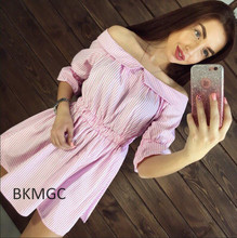 Buy 2017 New Style Summer Women Pink Stitching Dress Shoulder Strapless Sexy Dress Slash Neck Mini Dresses Vestido for $5.60 in AliExpress store