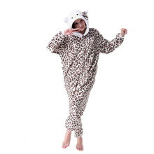 Cartoon Animal Cosplay Leopard Kitty Onesies Pajamas  Jumpsuit  Hoodies Adults Cos Costume for Halloween and Carnival