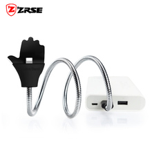 ZRSE Flexible metal Micro USB Charger Fast Charging Car Phone Holder Cable For iPhone Android Type-C Connector Adapter Cables(China)