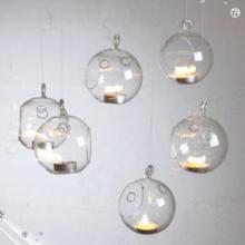 Set of 6 Hanging Glass Bauble Tea Light Candle Holder Xmas Tree Decoration Diy Wedding Centerpieces Decor