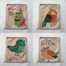 cute bird Print Custom Vintage Outdoor Beach Gym Swimming Clothing Shoes Storage Bag Drawstring Backpack
