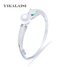 YIKALAISI 2017 new fashion 100% Natural Freshwater Pearl jewelry Bangle 9-10 mm Pearl 925 Sterling Silver jewelry For Women