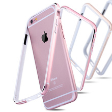 Aluminum + Silicone Bumper Case For iPhone 6 6S / 6 Plus 6S Plus Luxury Cover Metal Coque Rose Gold For iPhone6  Bag