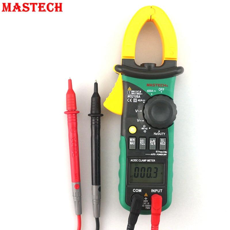 Mastech MS2108A Digital Multimeters Portable AC DC 400A Clamp Meter Voltmeter Ammeter Ohm Cap Herz Tester<br>