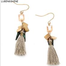 LUBINGSHINE Vintage Thread Tassel Drop Earrings Square Glass Beads Fringed Pendant Hanging Dangle Earring Woman Jewelry(China)