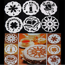 CS14 6pcs/lot 18.5cm Bakeware Baking Kitchen Accessories Fondant Cake making Decorating Tools Cake Stencil Template spray Mold