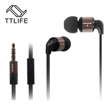 TTLIFE 3.5mm In Micro Earphone Metal Super Bass Noise Cancelling Earphone For Mobile Phone Mp3 Palyer