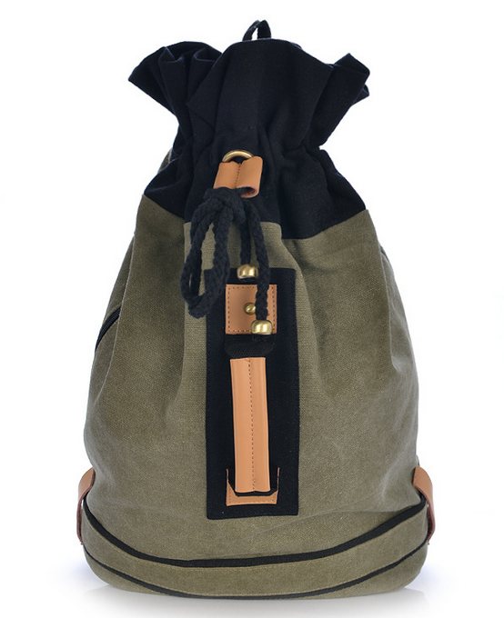 2015 New arrival string casual bags men women high fashion trend leather handle canvas slouch backpack students solid rucksack<br><br>Aliexpress