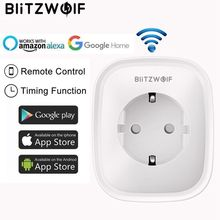 BlitzWolf BW-SHP2 WIFI Smart Socket EU Plug 220V 16A Remote Control Smart Timing Switch Work For Amazon Alexa/Google Assistant(China)