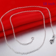 Cheap Hot 1MM Thin Top quality 925 stamped silver plated link Rolo Chain Jewelry Findings 18 inch Wholesale price