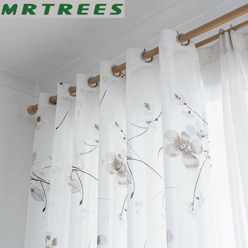 Floral Sheer Window Curtains for Living Room Bedroom Curtains for Kitchen Printed Tulle for Window Curtains Drapes Door Fabric