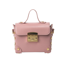 SKLEAF fashion lock catch mini flap box bag 2017  new women handbag casual rivets shoulder bag pu leather messenger bags